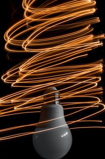 Photo of lightbulb with long exposure capturing circular motion
