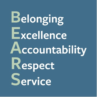 Belonging, Excellence, Accountability, Respect, Service