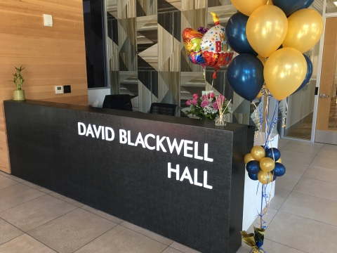 Photo of David Blackwell Hall sign